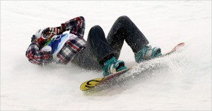 snowboarder bum slide