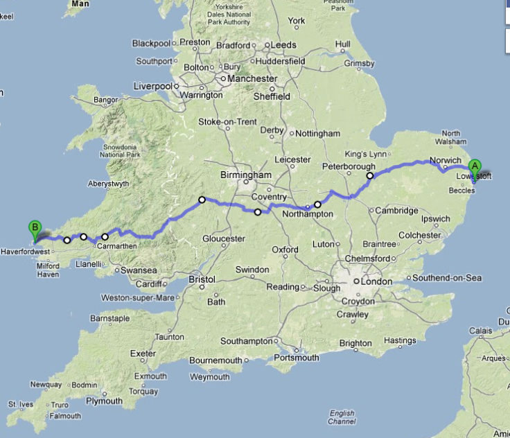 route map for ride east to west